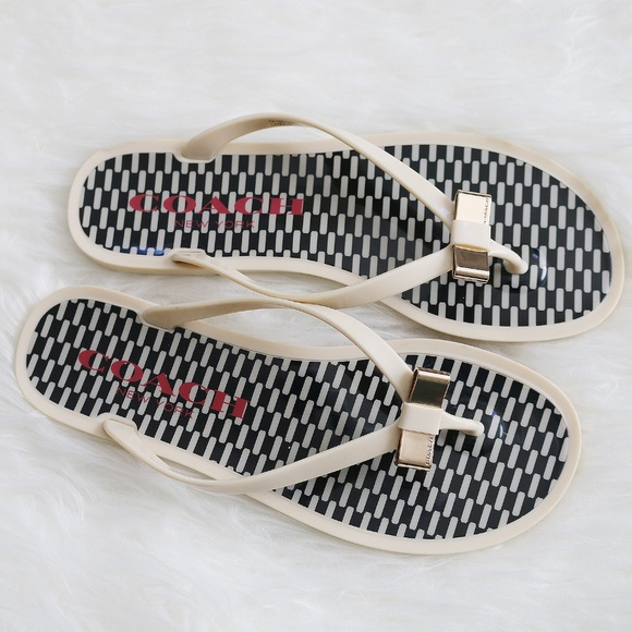 8b1041e3d23 Coach Shoes - COACH Landon Jelly Flip Flops Cream Black 7B